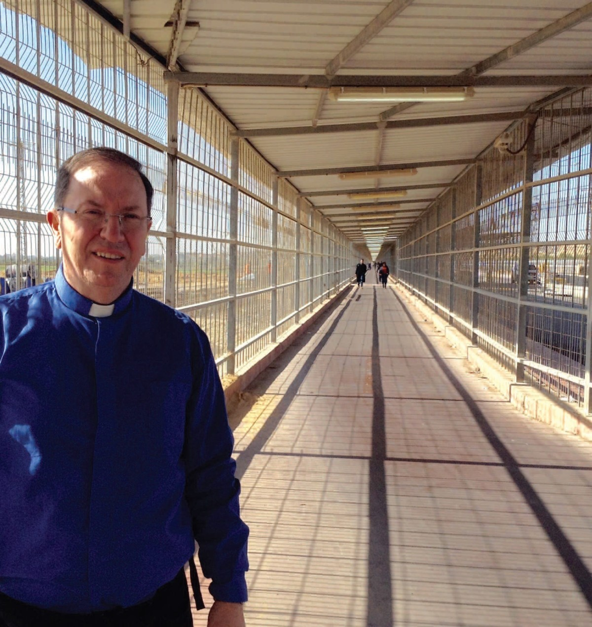 Fr Paul Clayton-Lea at the caged Gaza crossing