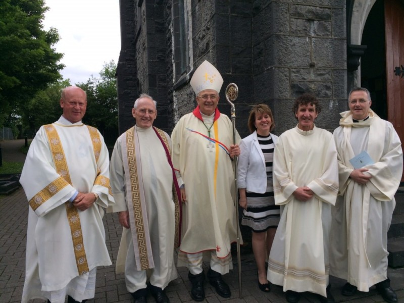 Image, from left to right: Deacon Andy Brady; Mgr Michael Cooke, Director of the Diaconate in the Diocese of Kilmore; Bishop Leo O'Reilly; Mrs Annette Kelly; Mr Padraig Kelly; and Fr Michael Duignan, Director of the Diaconate Programme in St Angela's College, Sligo.